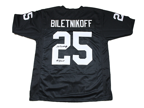 "Fred Biletnikoff Autographed Custom Oakland Raiders Jersey wt ""SB"" inscription"