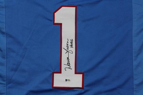 904fd7ac4 This custom jersey has been hand signed by Houston Oilers Hall of Fame  Quarterback Warren Moon. It also includes his