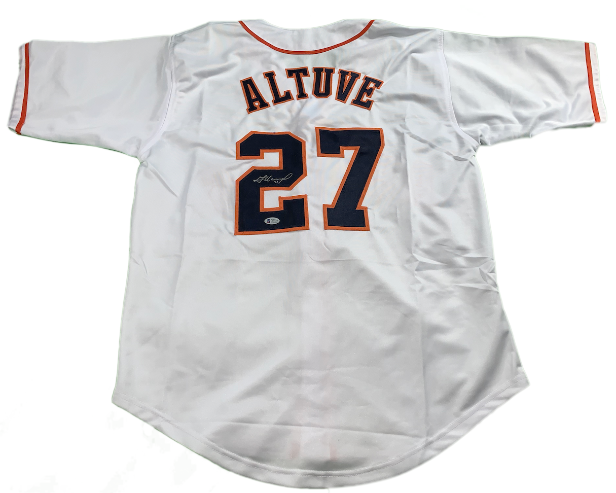 factory authentic 46eed 52d35 Jose Altuve Autographed Custom Astros White Jersey