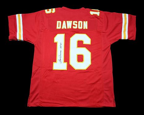 "Len Dawson Autographed Custom Kansas City Chiefs Jersey with ""HOF 87""inscription"