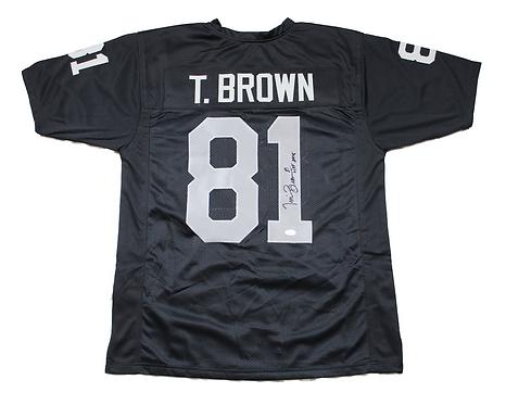 "Tim Brown Autographed Custom Oakland Raiders Jersey wt ""HOF2015"" inscription"