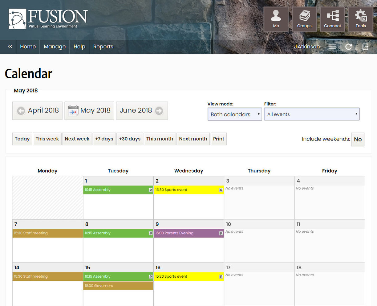 A typical school calendar