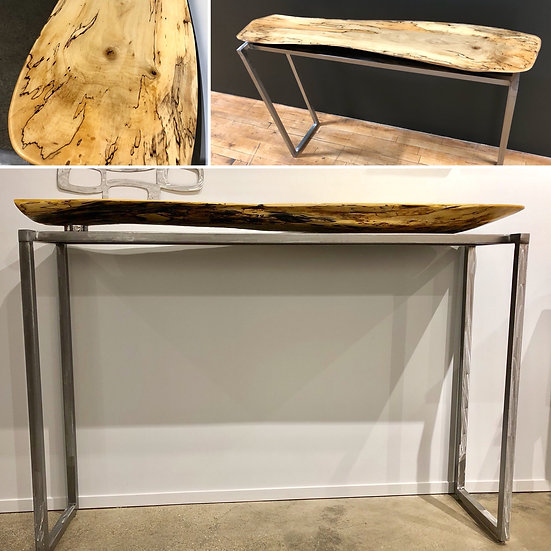 Resin Spalted Maple Console Table