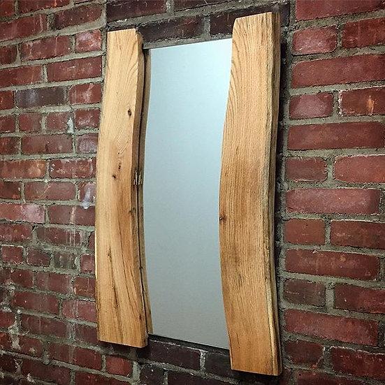 """Curved Reflection"" - Live Edge White Oak Mirror (Medium)"