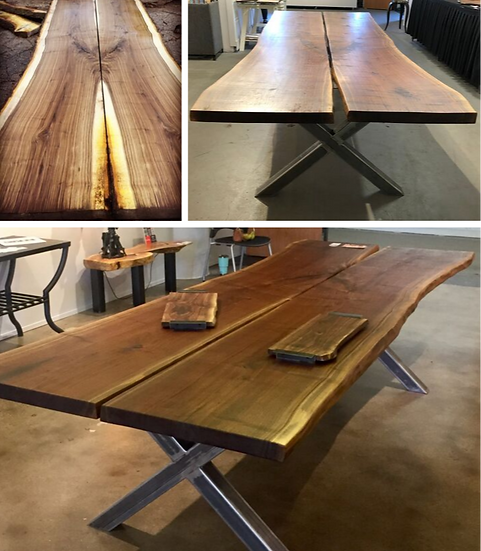 10' Bookmatched Live  Edge Walnut Table