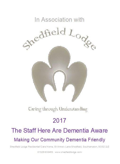Shedfield Lodge, Dementia Aware, Window Sticker