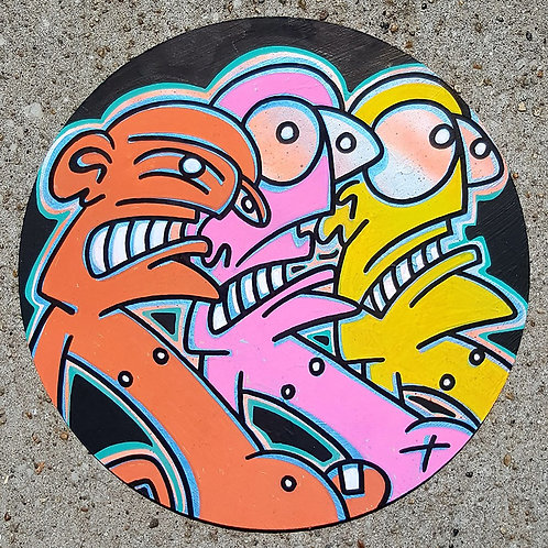 GALO - ROUND 84 - 30x30cm - Mixed Media on Board