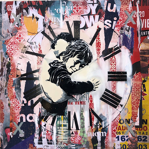 Mr HAZ - POST PANDEMIA - 100x100cm - Mixed Media on Wooden Board