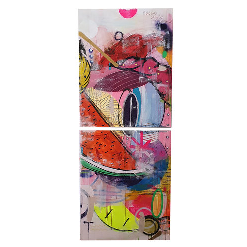 Salada de Frutas 2 - Mixed Media on Canvas - Diptych - 80x200cm