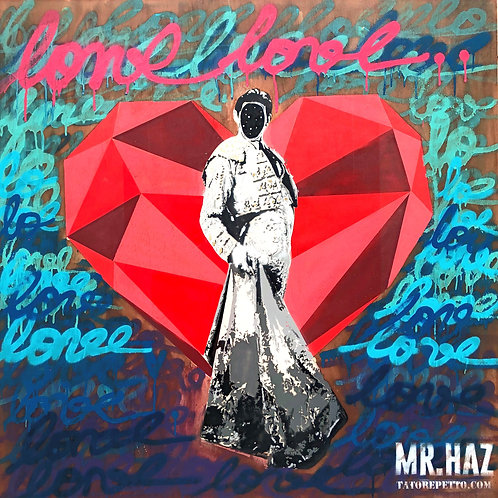 Mr HAZ - BLOODY LOVE - 100x100cm - Mixed Media on Wooden Board