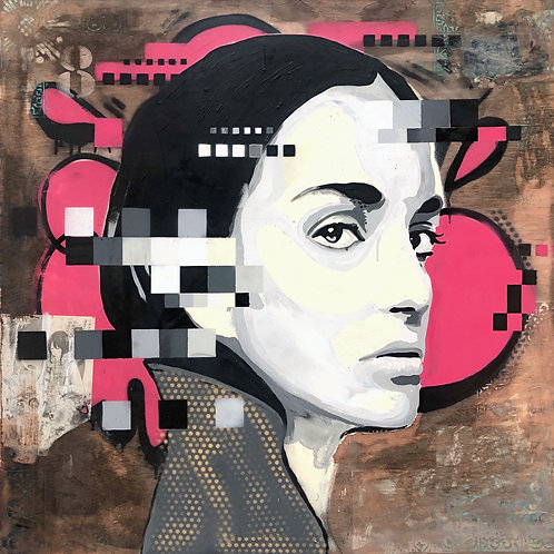 Mr HAZ - THAT FACE GABRIELLE! - 100x100cm - Mixed Media on Wooden Board