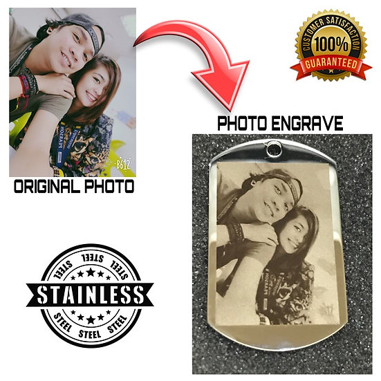 PHOTO ENGRAVE STAINLESS STEEL DOG TAG