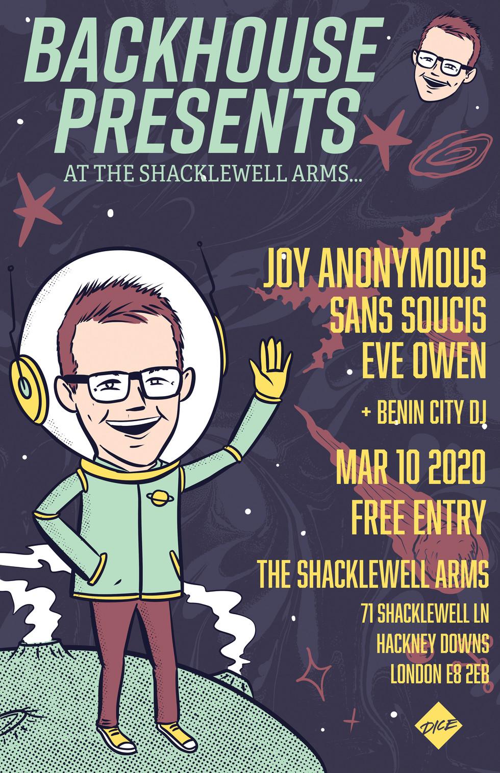 Backhouse Presents: Joy Anonymous, Sans Soucis + Eve Owen