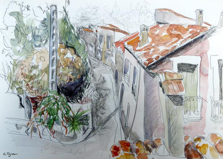 """""""Plaissan"""" Graphite et aquarelle.©TIZIEN"""