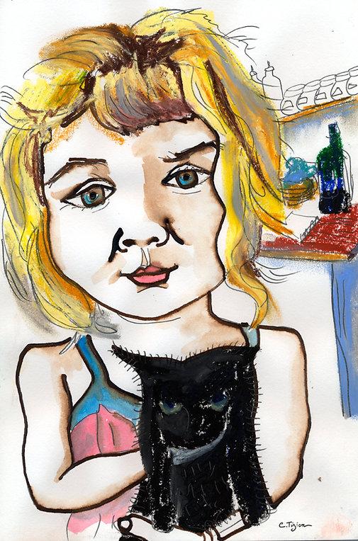 Dessin au graphite, brou de noix, pastel à l'huile et aquarelle.©TIZIEN