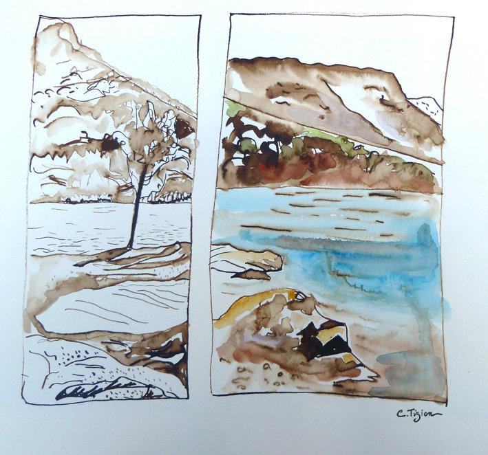 """""""Lac du Salagou"""" Brou de noix et aquarelle.©TIZIEN"""