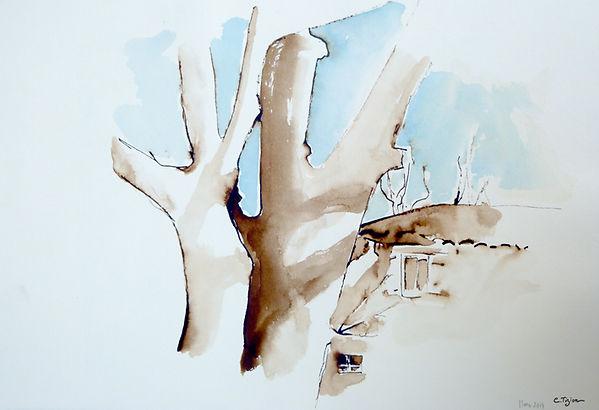 """""""Vielleneuvette"""" Brou de noix et aquarelle.©TIZIEN"""
