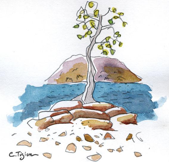 """Dessin et Aquarelle """"lac du salagou""""©TIZIEN"""