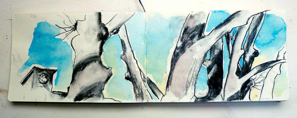 """""""Villeneuvette"""" Fusain et aquarelle.©TIZIEN"""