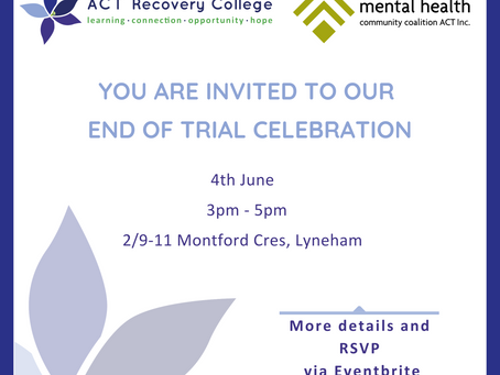 Celebration of success as ACT mental health Recovery College Two-year trial ends.