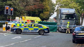 Motorcyclist seriously injured in collision with HGV.