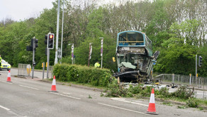 Two buses collide in Loughborough.