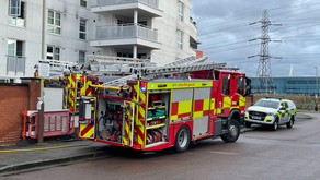 Firefighter's tackle high rise blaze in apartment block.