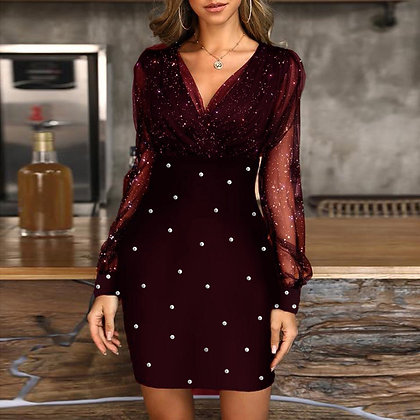 V-Neck Sequins Ladies Dress