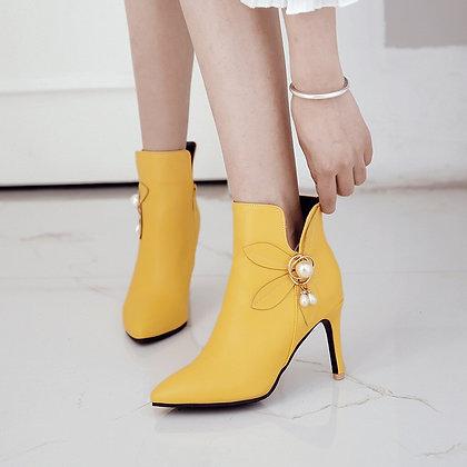 Women High Heel Pearly Zipper Shoes