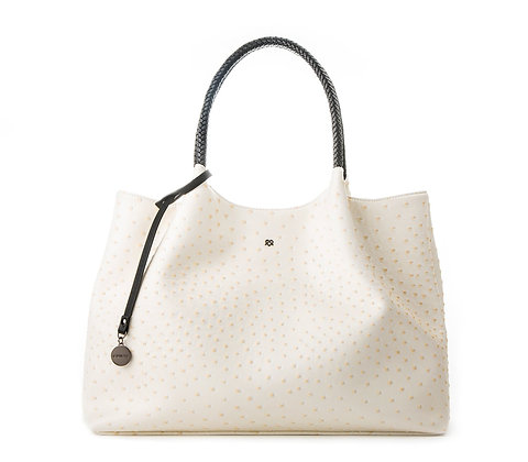Dotted- White Vegan Leather Tote Bag