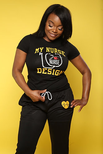 MND Black and Golden Yellow Tee