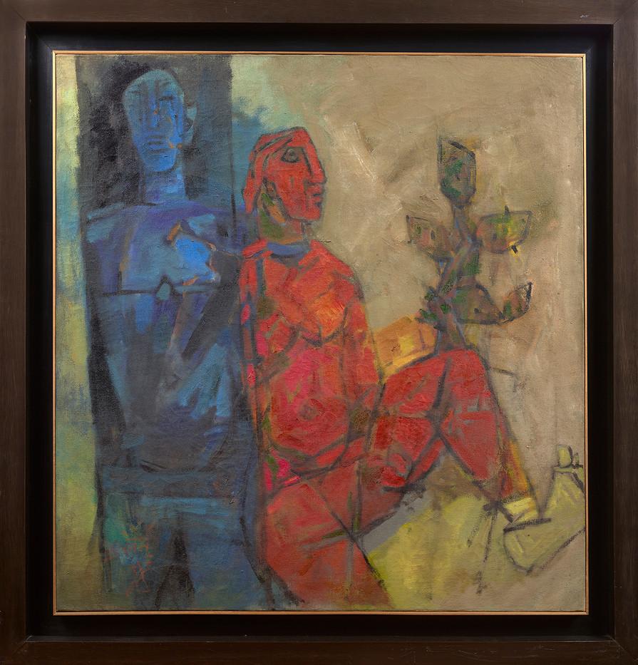 Husain_Untitled (Two Figures - Framed)_m