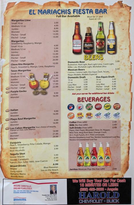 Fiesta Bar, Beers, Beverages