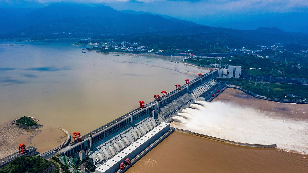 The Three Gorges Dam on the Yangtze River in China is both the heaviest concrete structure in the world and the world's largest concrete pour.