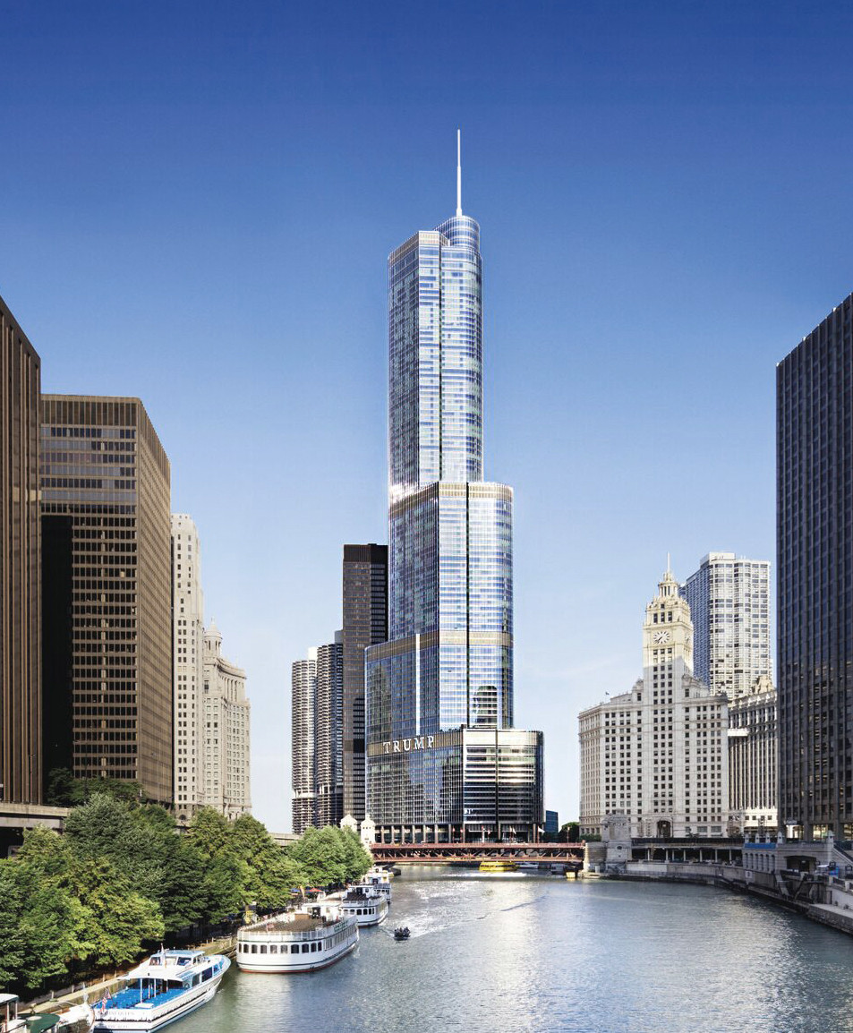 The Trump International Hotel and Tower in Chicago is the world's tallest concrete building. The 92-story building was built in 2009 and stands 1,387 feet tall.