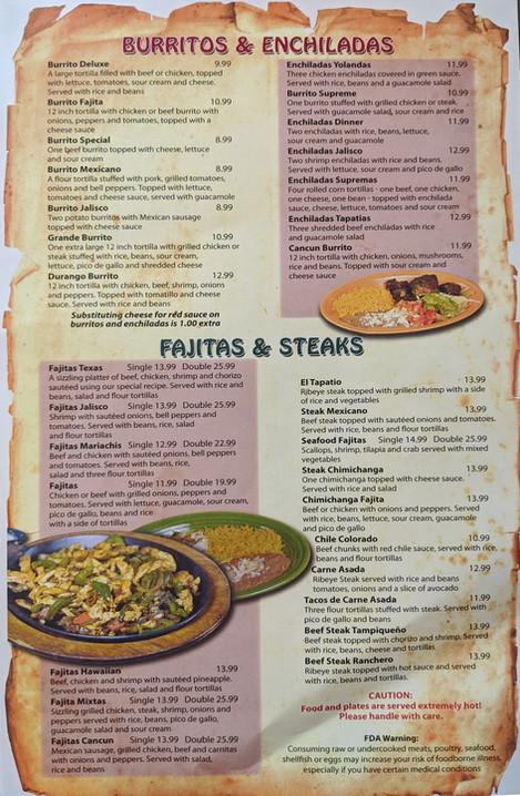 Burritos & Enchiladas, Fajitas & Steaks