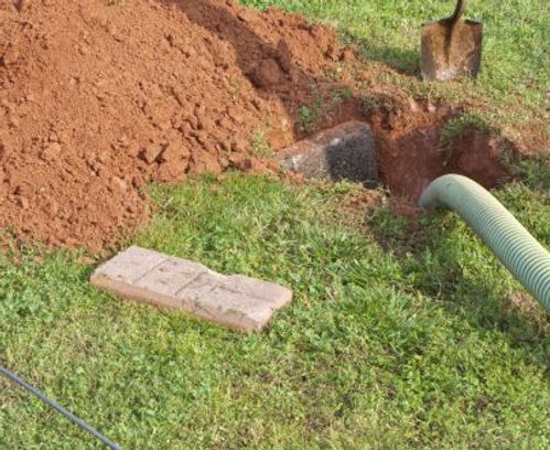 open septic tank hole ready for a concrete septic tank