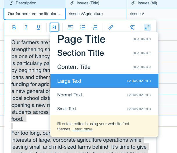 How to change page title font