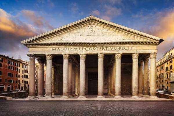 The Pantheon is noteworthy, among all surviving Roman temples, for its remarkably fine state of preservation. The Pantheon was once a pagan temple to all the gods. It had a Greek name. 'Pan' means 'all' and 'theon' means gods.