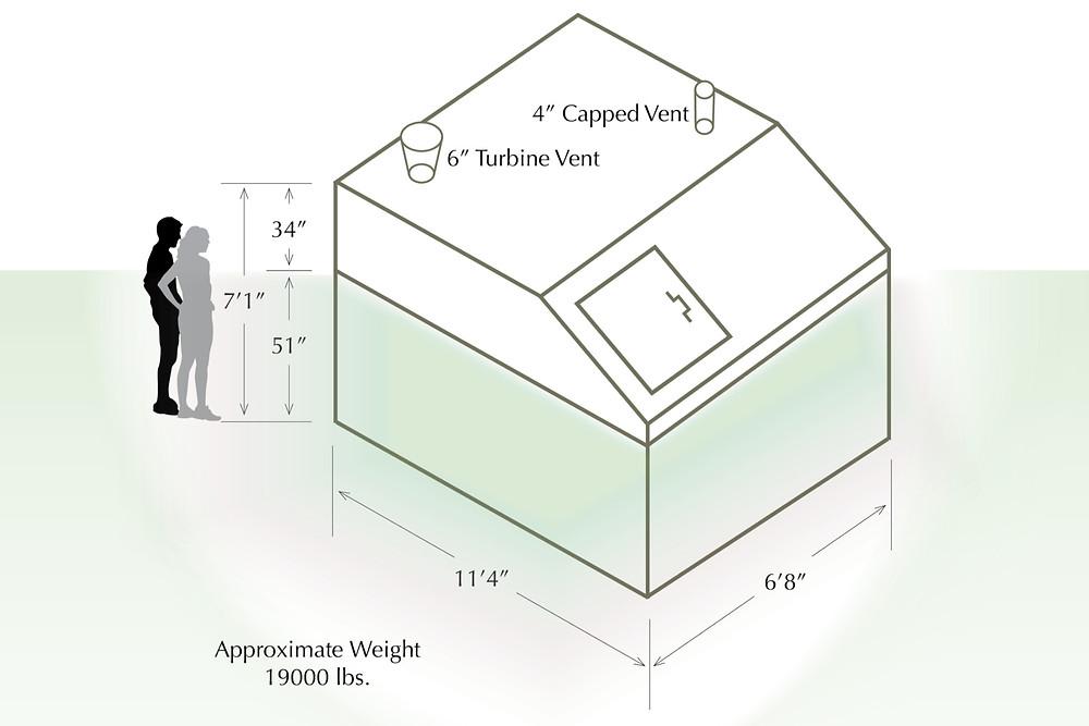 Capped Vent, Turbine Vent, Storm Shelter Diagram