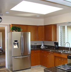 Skylight inset lighting kitchen