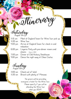 Bach Party Itinerary