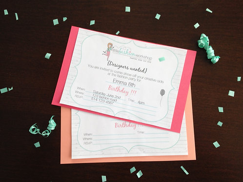 6 Printed Invitations and Enveloppes