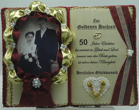 Deko-Buch Goldene Hochzeit für Foto (mit Holz-Buchständer)