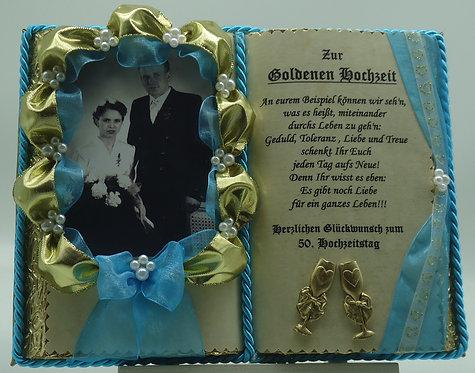 Deko-Buch zur Goldenen Hochzeit für Foto (mit Holz-Buchständer)