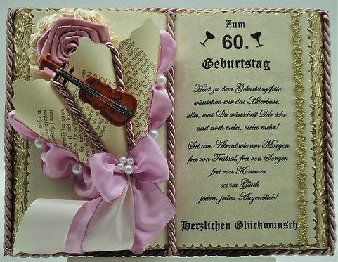 Deko-Buch zum 60. Geburtstag altrosa/gold (mit Holz-Buchständer)