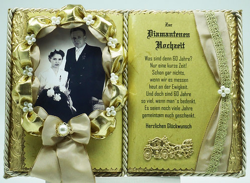 Deko-Buch Diamantene Hochzeit für Foto (mit Holz-Buchständer)