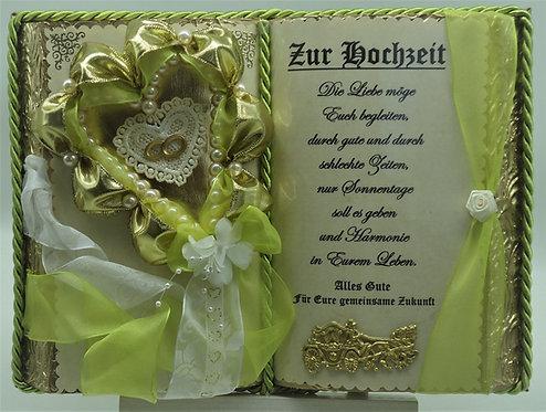 Handgefertigtes Deko-Buch zur Hochzeit (mit Holz-Buchständer)