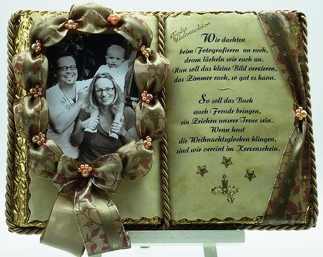 Dekobuch für Foto - Weihnacht (mit Holzbuchständer)