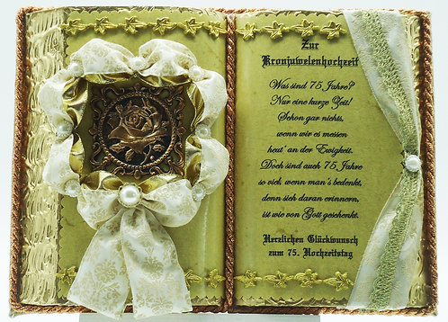 Deko-Buch Kronjuwelenhochzeit (mit Holz-Buchständer)